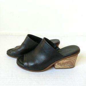 Vince Tilda slides open mules black block heel